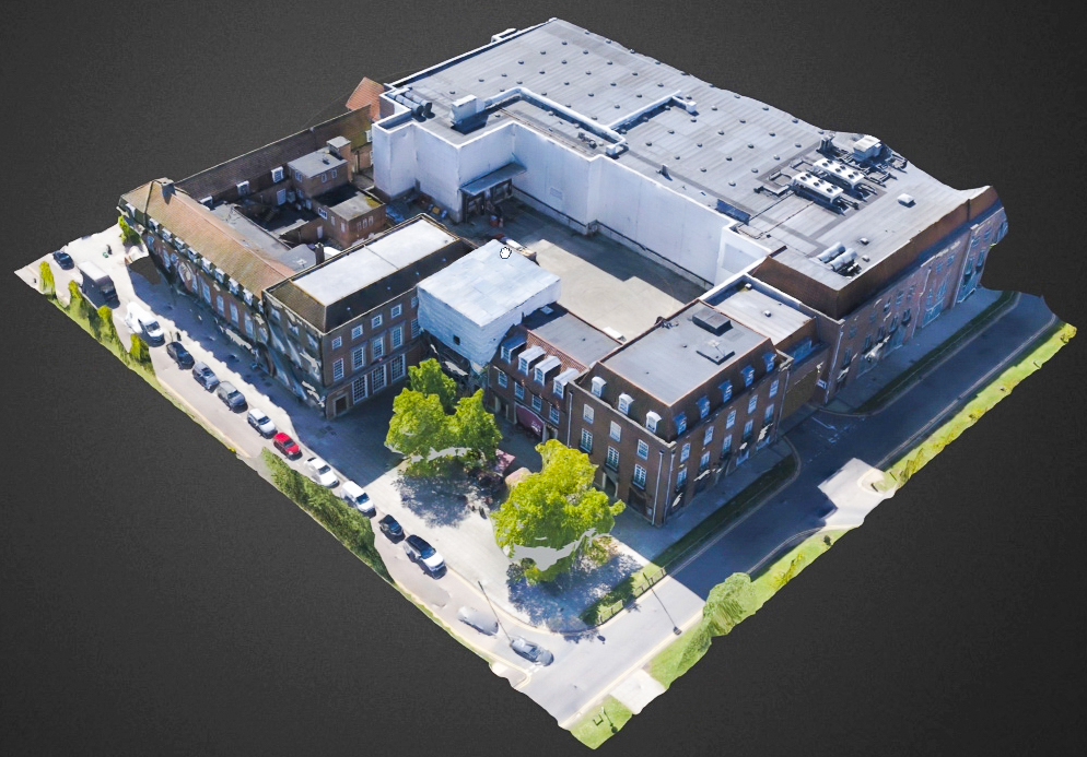 a 3D model of a building created by drone point cloud services