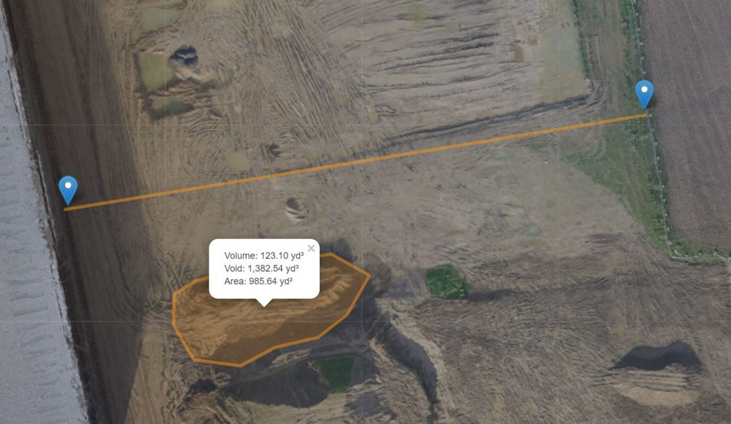 An image showing volumetric measurment from drone mapping images