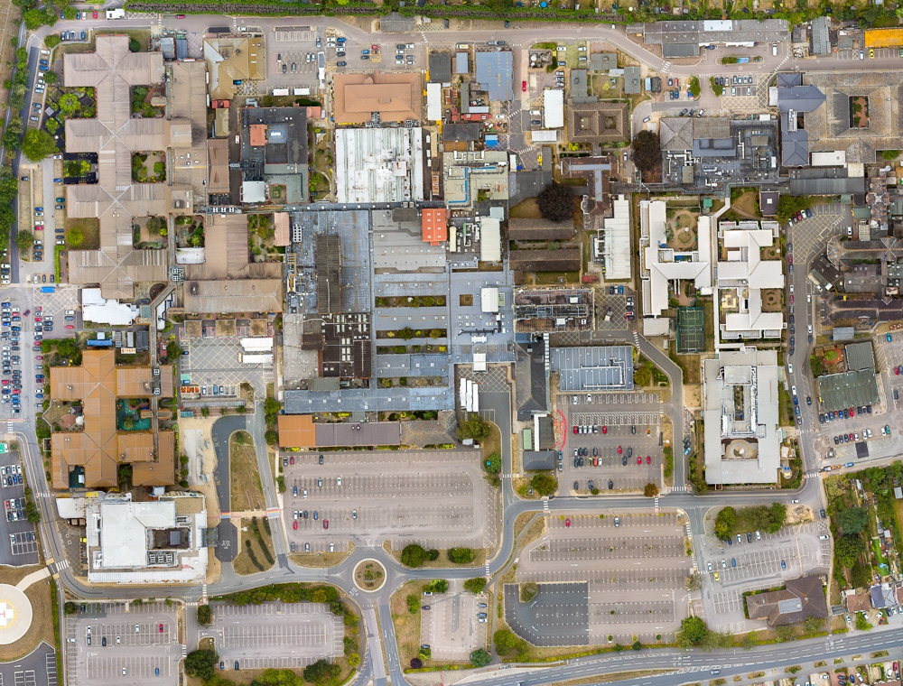 An orthomosiac map created by a drone of Ipswich Hospital in Suffolk