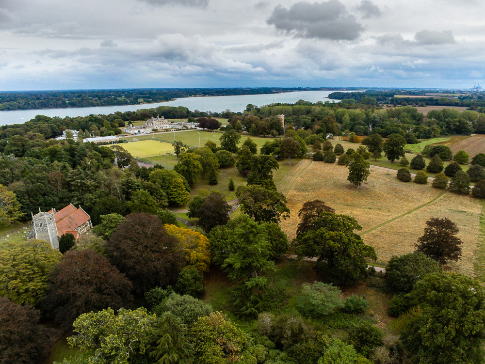A view of the Ipswich School with the river Orwell in the background