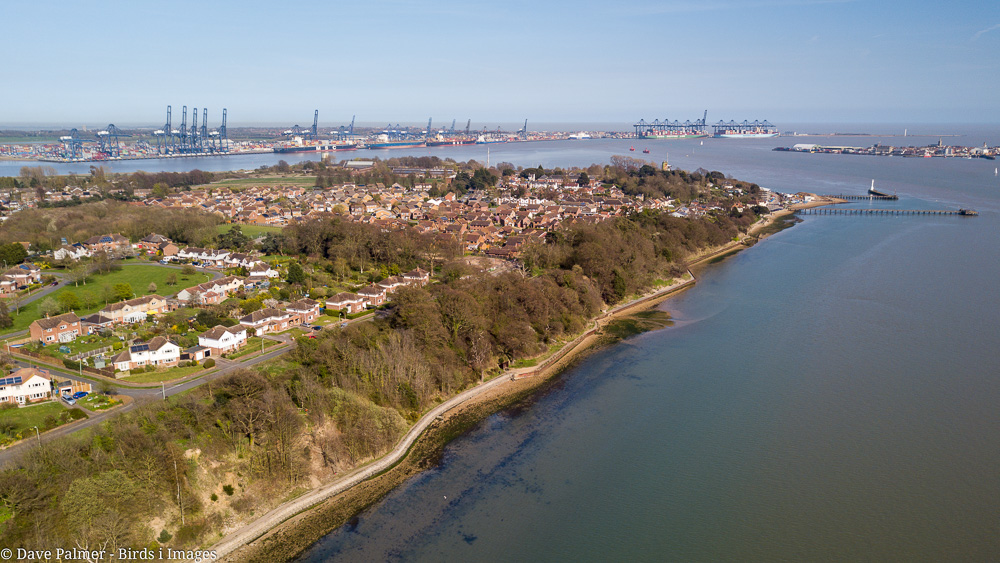 A view of Shotley with Felixstowe docks in the backgound
