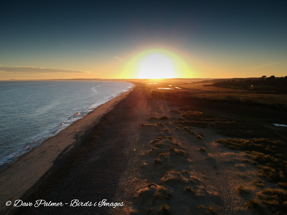 A view of a sunset at Walberswick in Suffolk