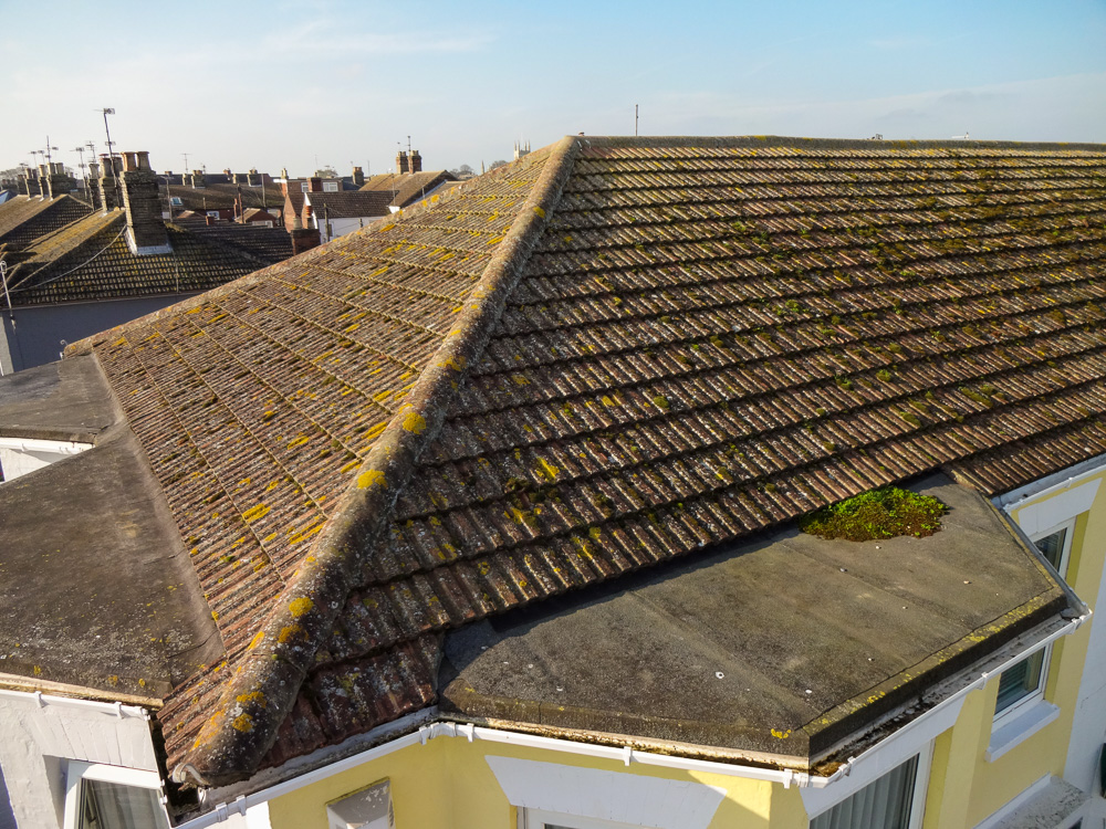 A view of a domestic roof taken by a pole mounted camera