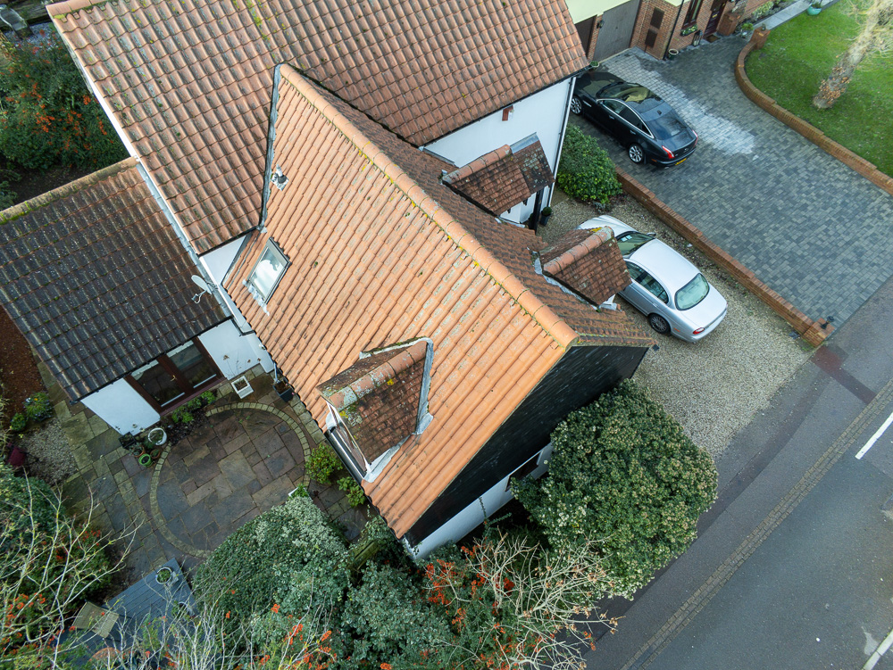 A view of a domestic roof from a drone